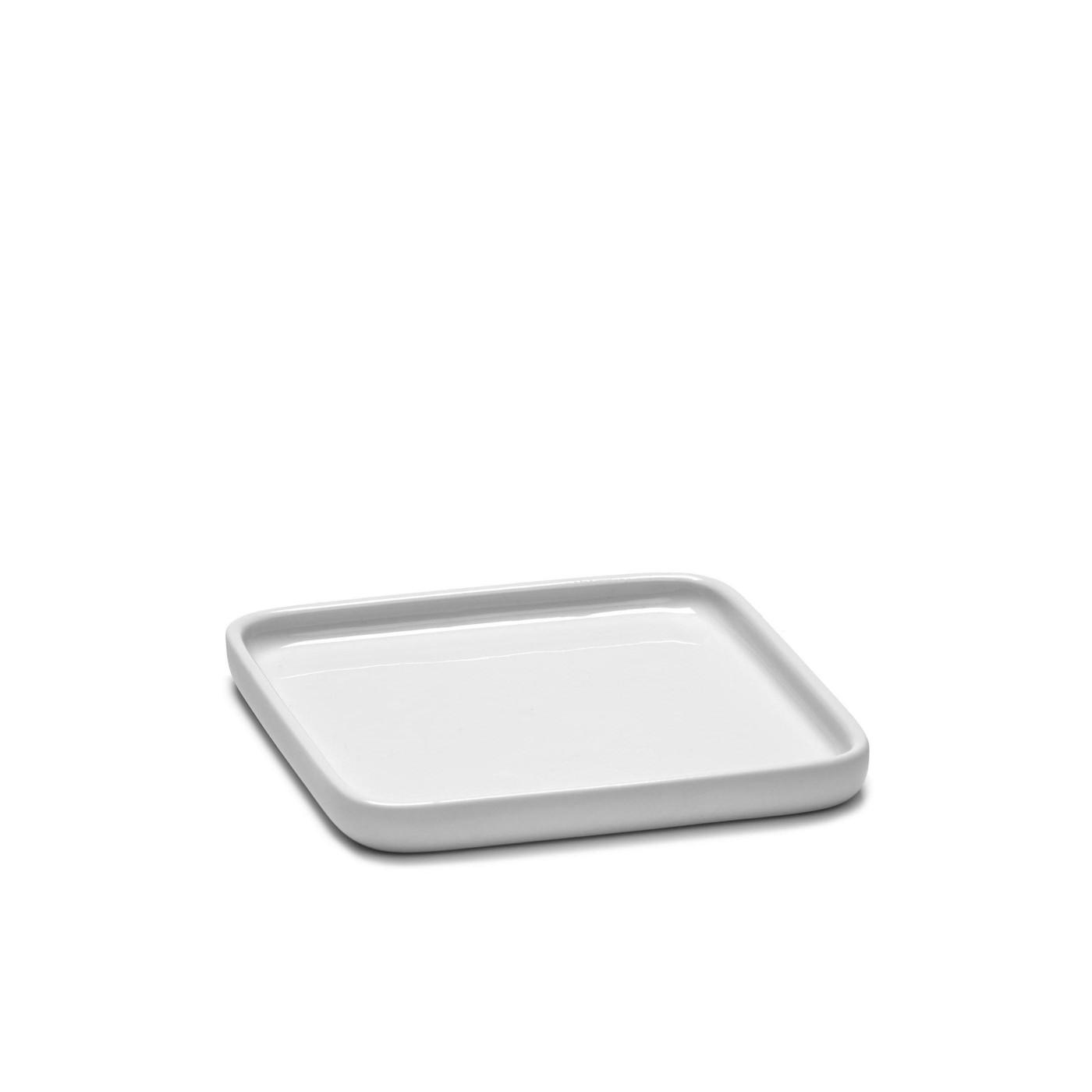 Assiette carrée en porcelaine blanche 12x12cm