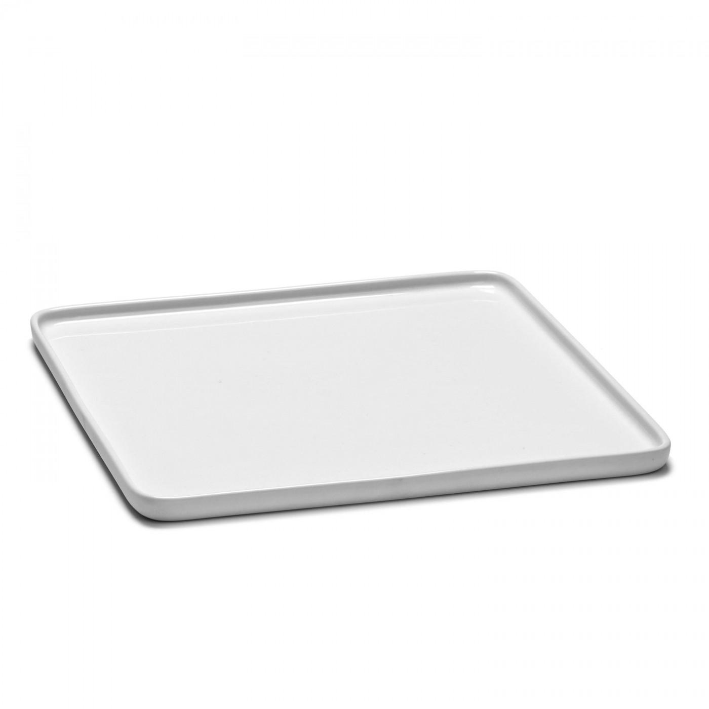 Assiette carrée en porcelaine blanche 24x24cm