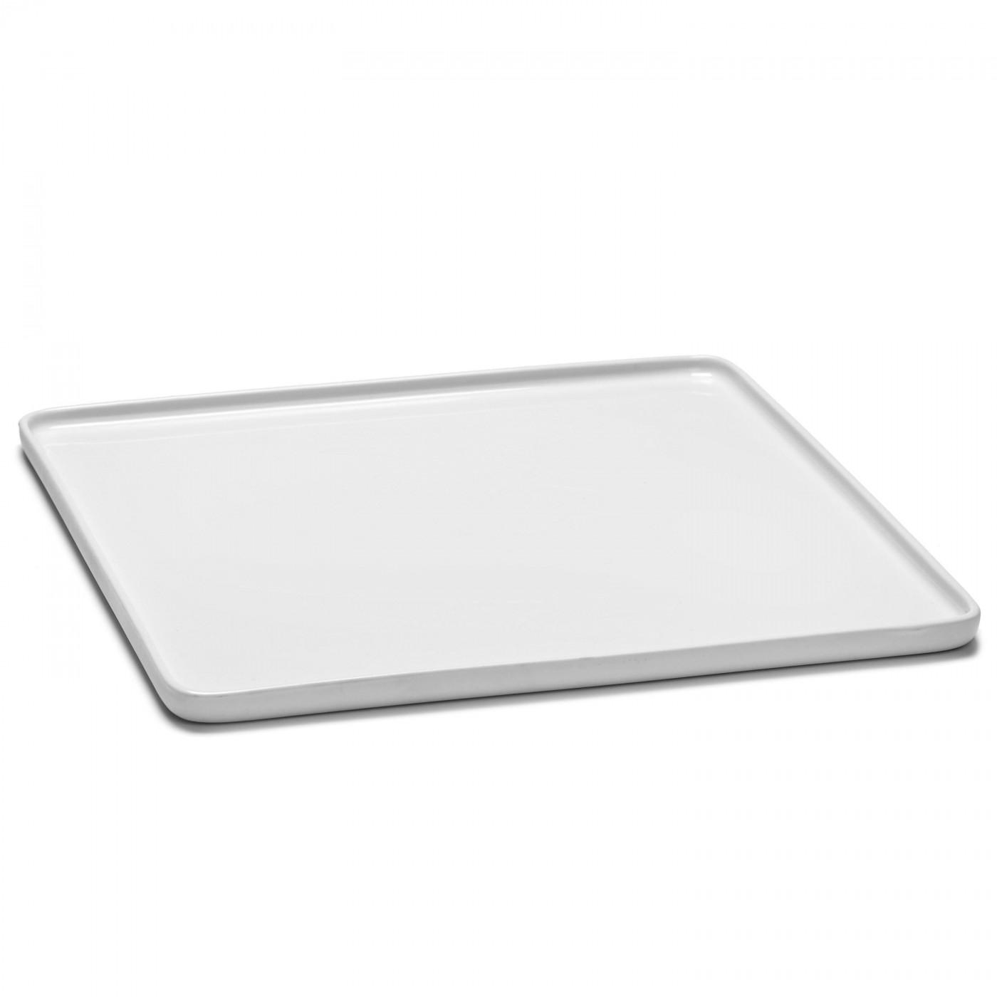 Assiette carrée en porcelaine blanche 28x28cm