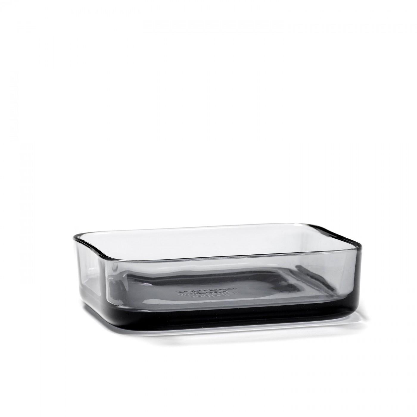 Bol rectangulaire en verre fumé gris 12x6cm