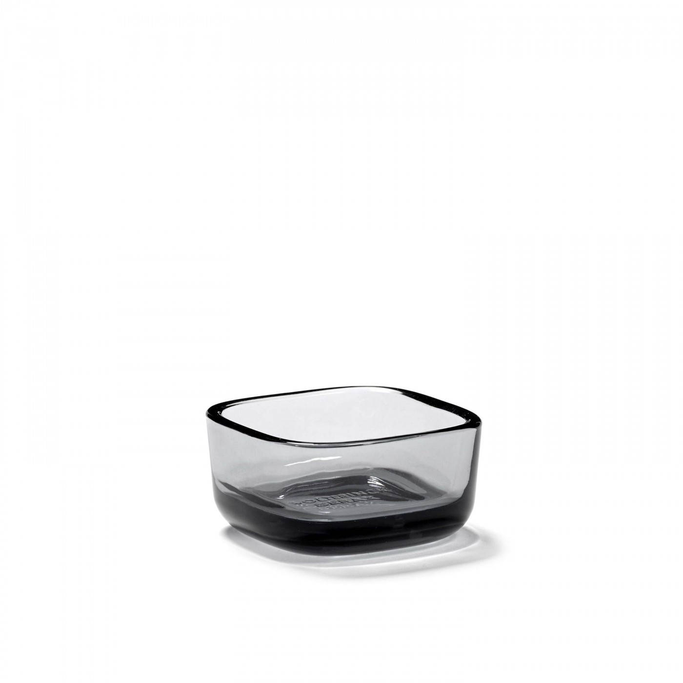 Bol carré en verre fumé gris 6x6cm H3cm