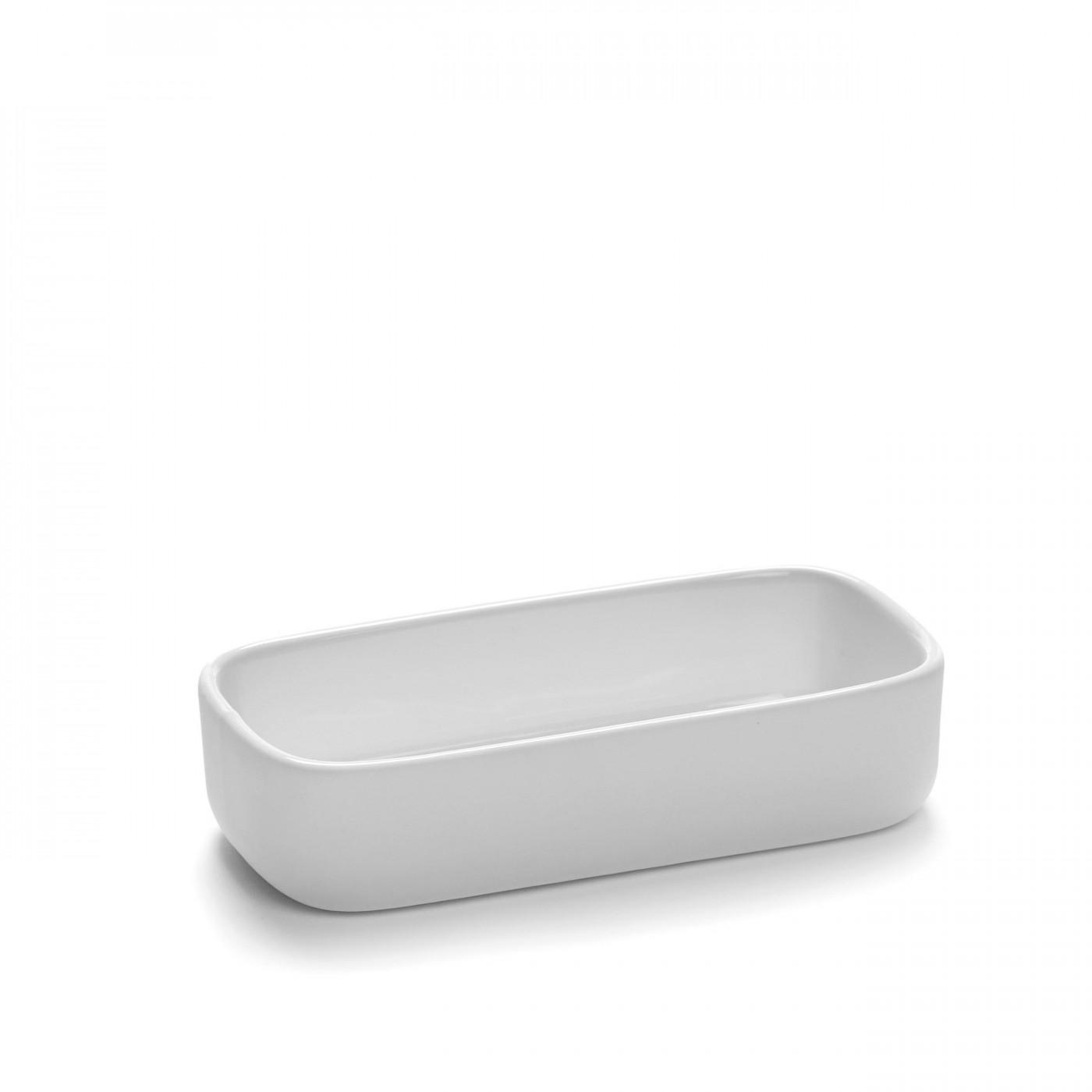 Bol rectangulaire en porcelaine blanche 12x6cm