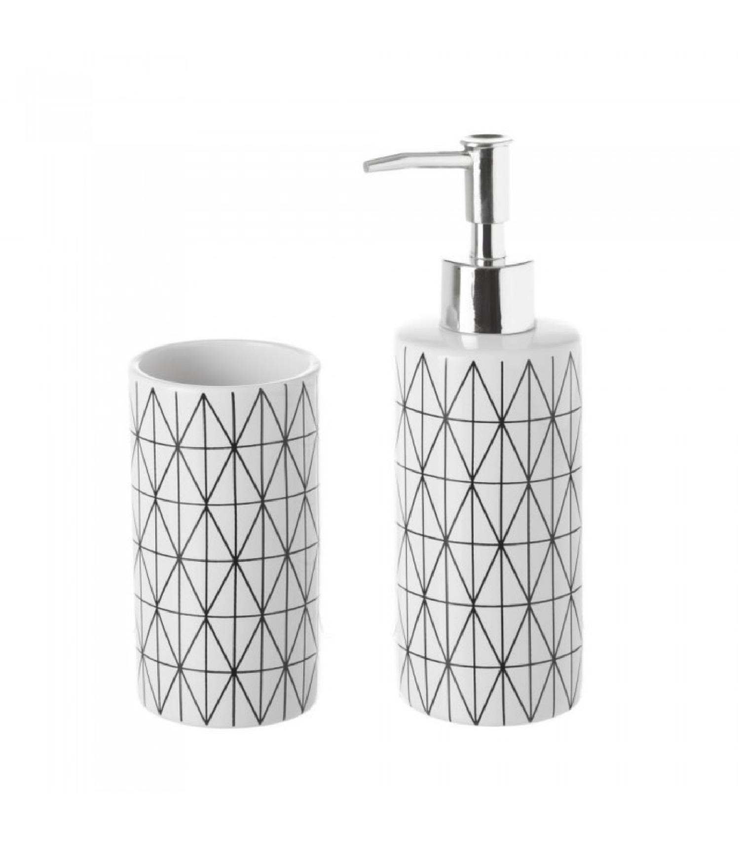 Set de salle de bain distributeur savon + verre