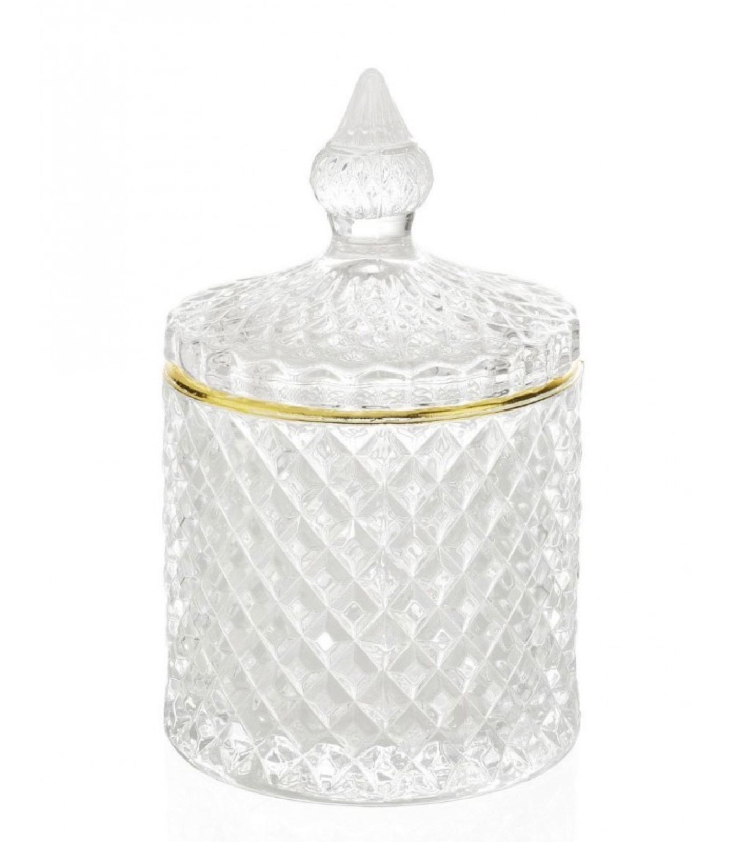 Boîte de rangement coton-tiges salle de bain verre et or