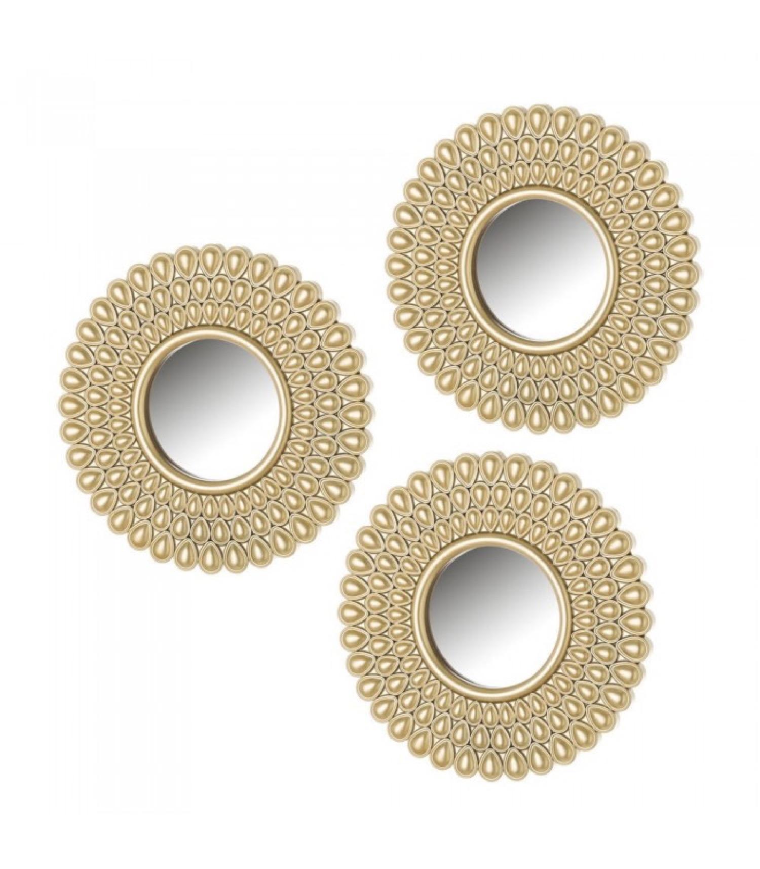 Set de 3 miroirs ronds dorés D10cm