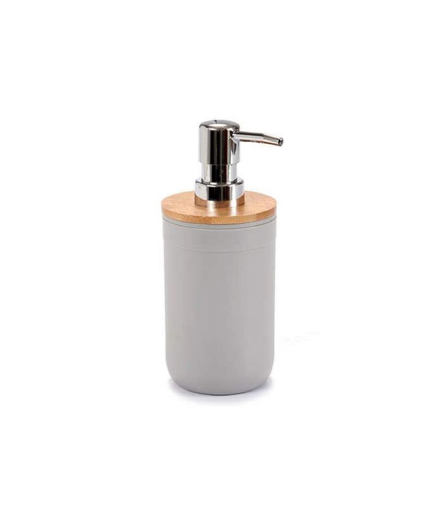 Distributeur de savon gris et bambou