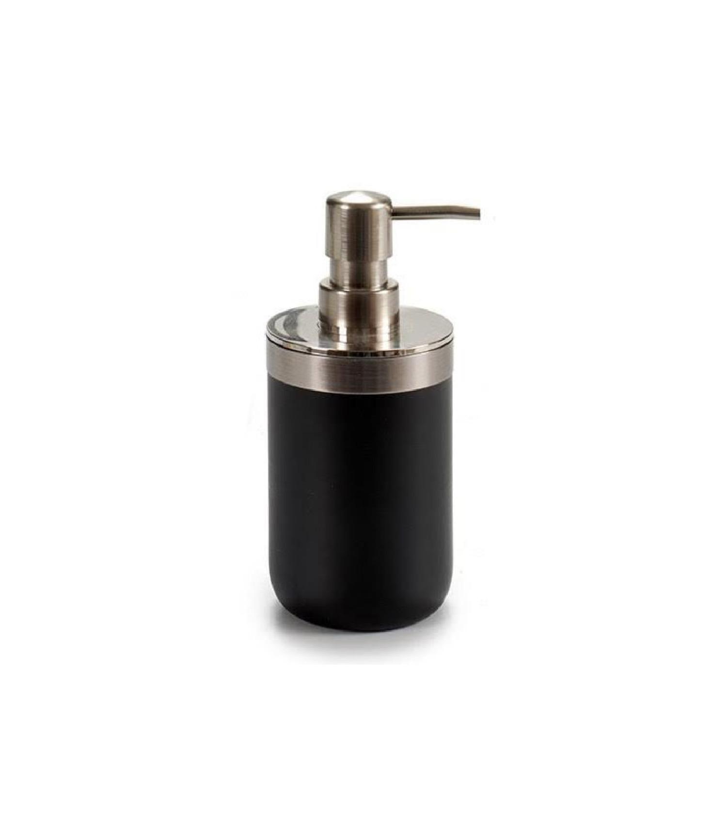 Distributeur de savon rond inox et plastique noir