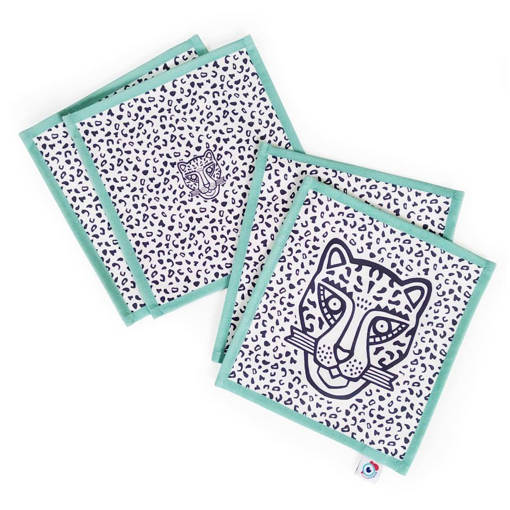 Lot 4 serviettes apéro coton bleu léopard bleu 16x16