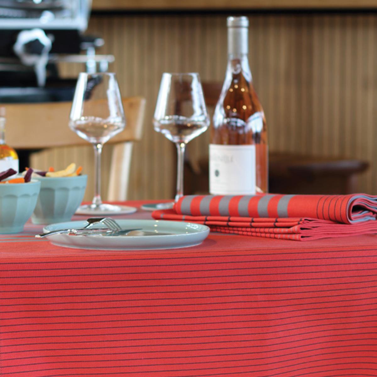 Nappe 10 couverts en coton rouge orangé 300x160cm