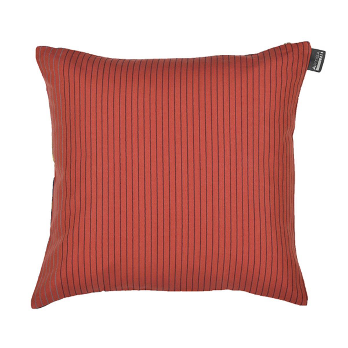 Coussin carré en coton rouge fleurs 40x40 cm