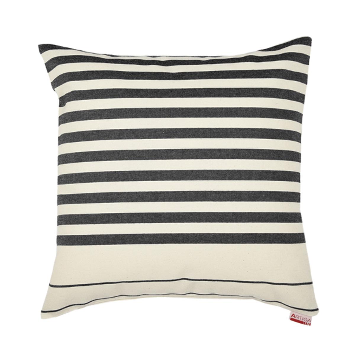 Coussin carré en coton ecru noir 40x40 cm