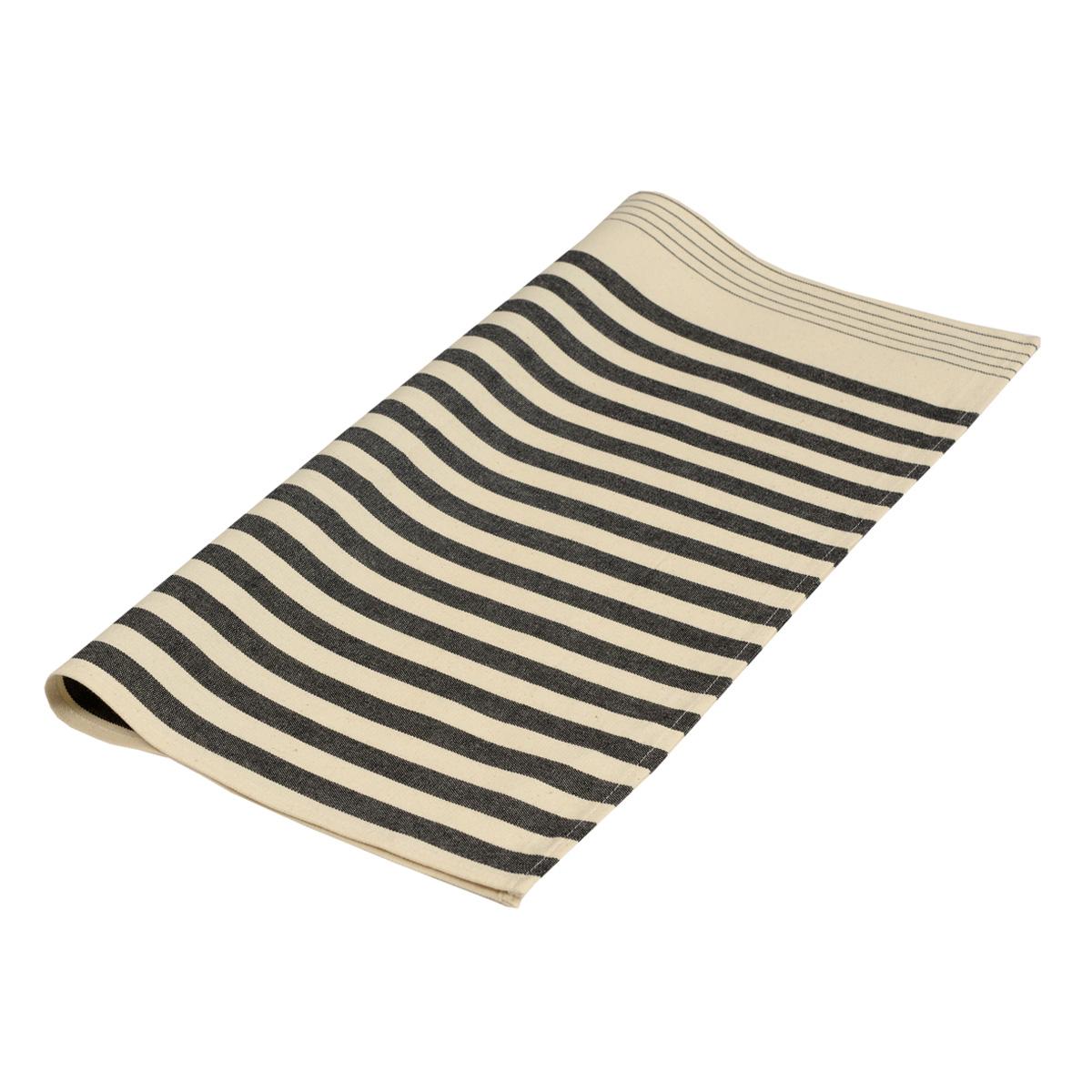 Serviette de table en coton ecru noir 50x50cm