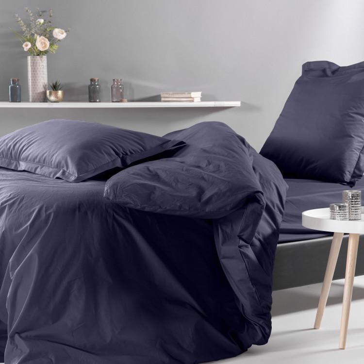 Drap housse en percale bleu 160x200