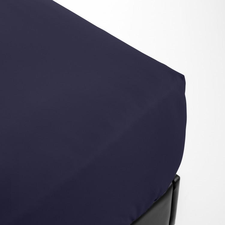 Drap housse en percale bleu 140x200
