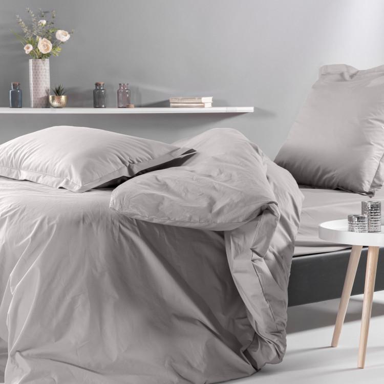 PERCALE MONTELEONE - Drap housse grands bonnets percale gris 140x190