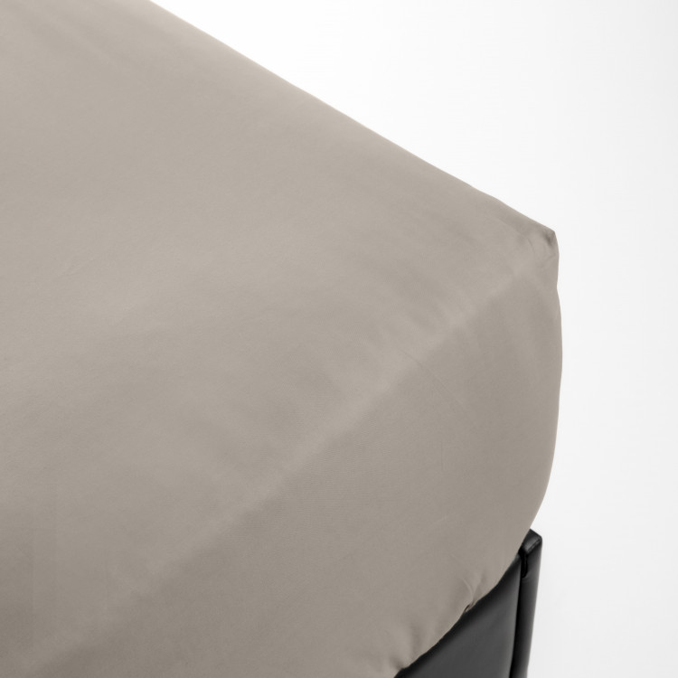 Drap housse en percale beige 140x200
