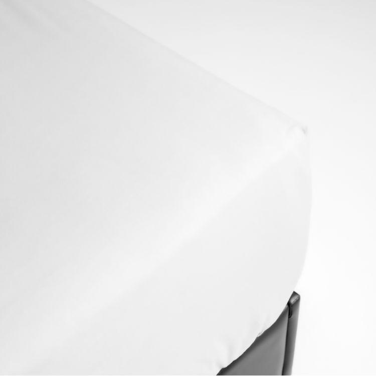Drap housse en percale blanc 160x200
