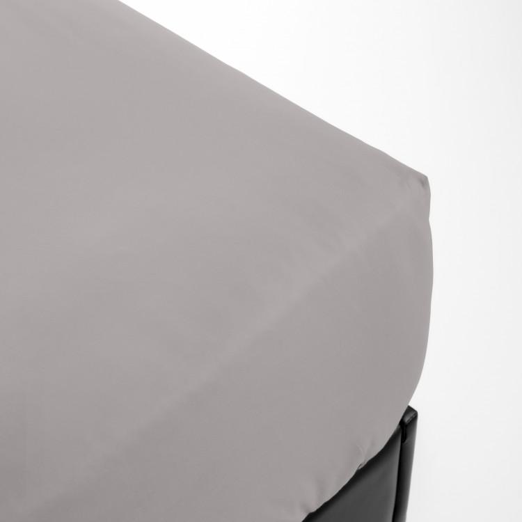Drap housse en percale gris 200x200