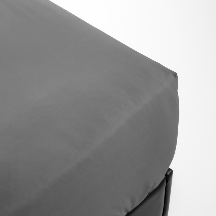 Drap housse en percale gris 180x200