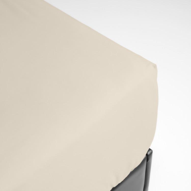 Drap housse grands bonnets percale beige 160x200