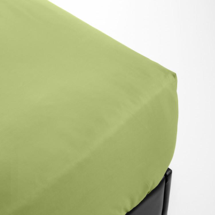 Drap housse en percale vert 200x200