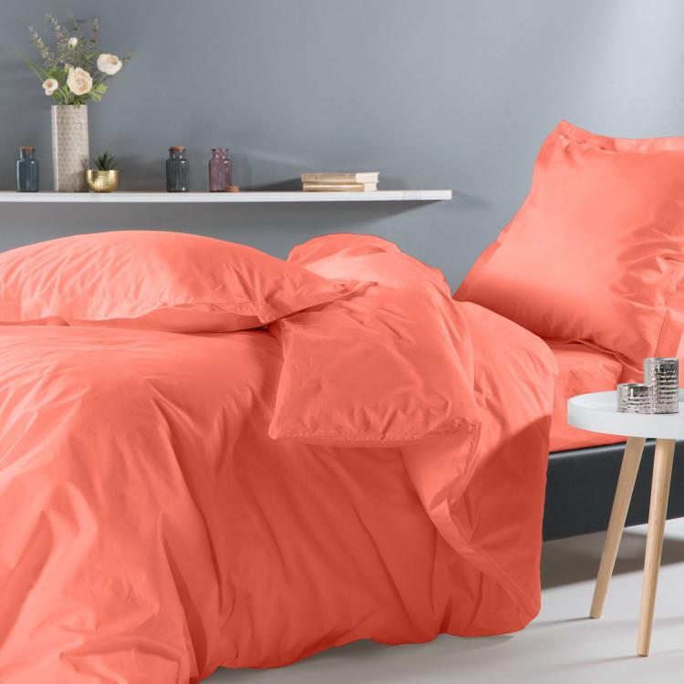 Drap plat uni en percale orange 180x290