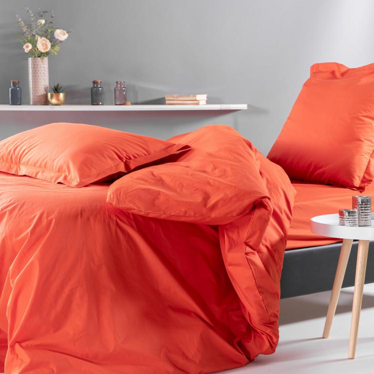 Drap plat uni en percale orange 270x300