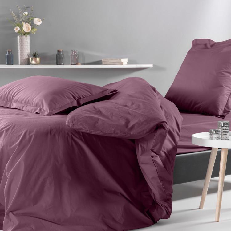Drap plat uni en percale violet 180x290