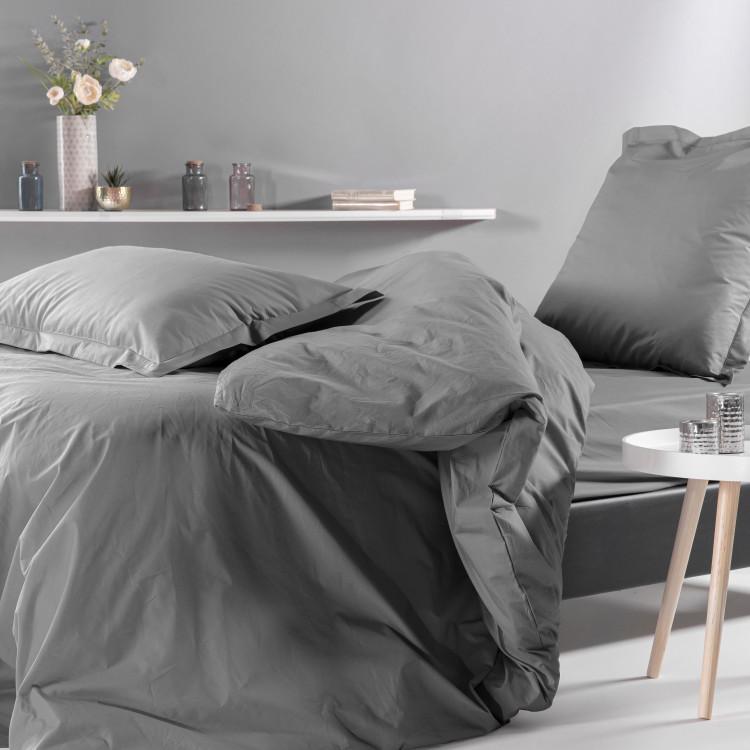 Drap plat uni en percale gris 270x300