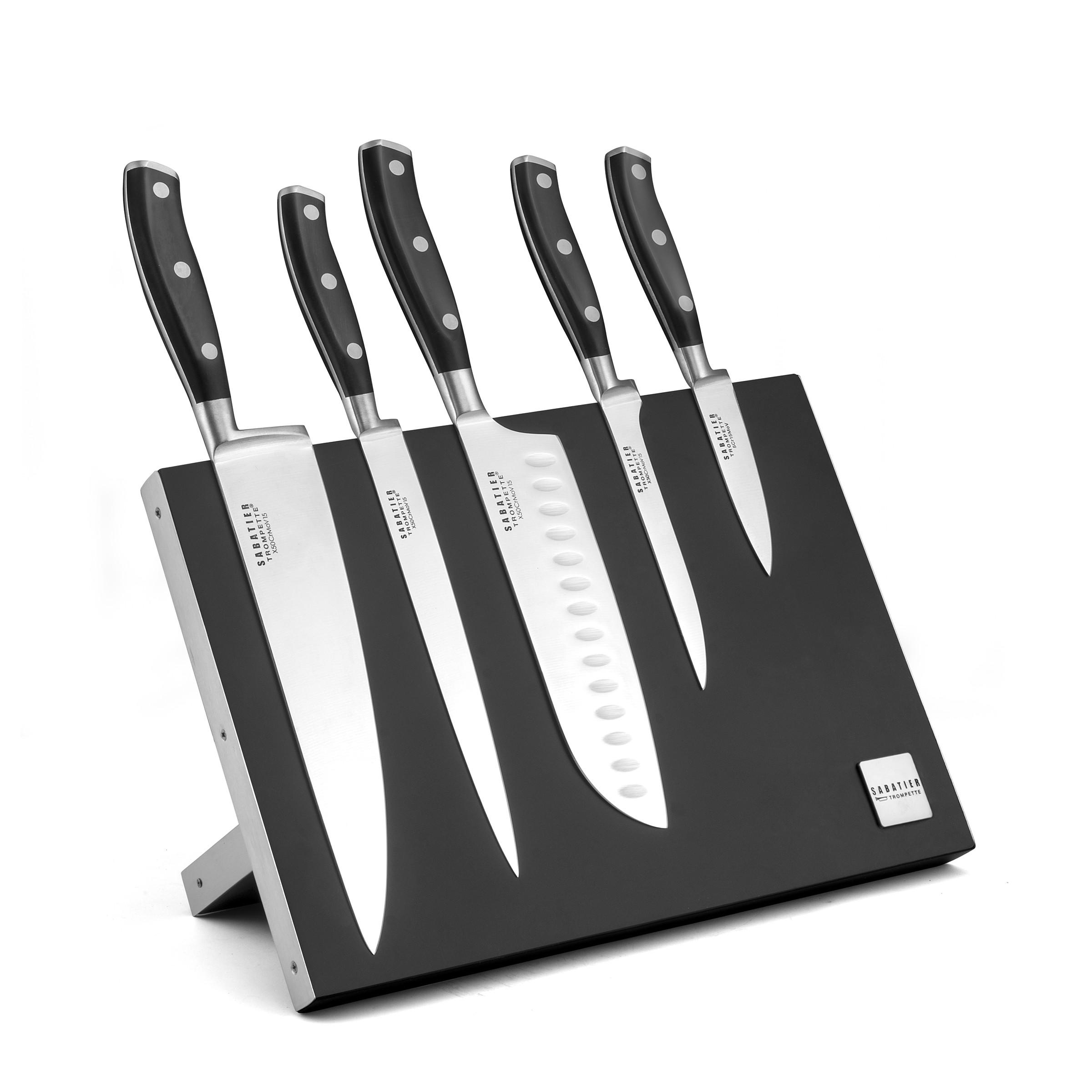 Bloc magnétique 5 couteaux de cuisine