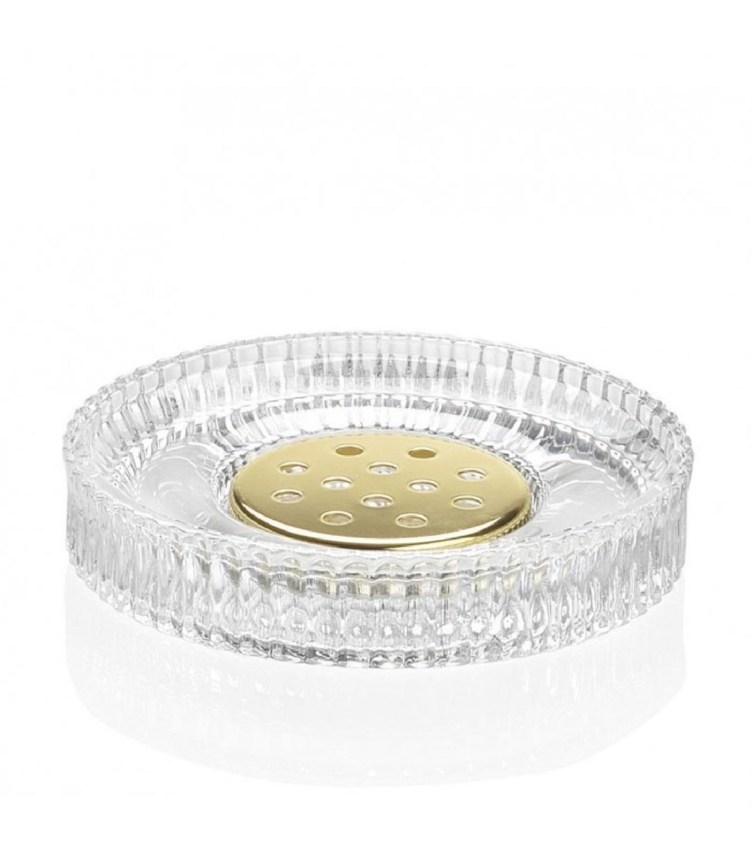 Porte savon rond en verre et métal doré