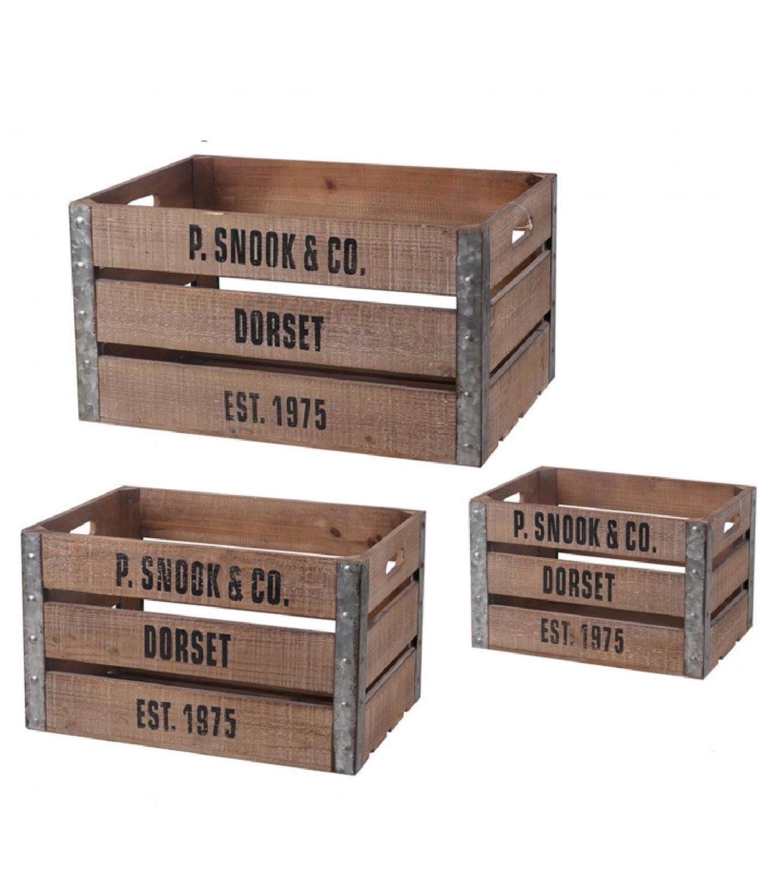Set de 3 caisses en bois et métal
