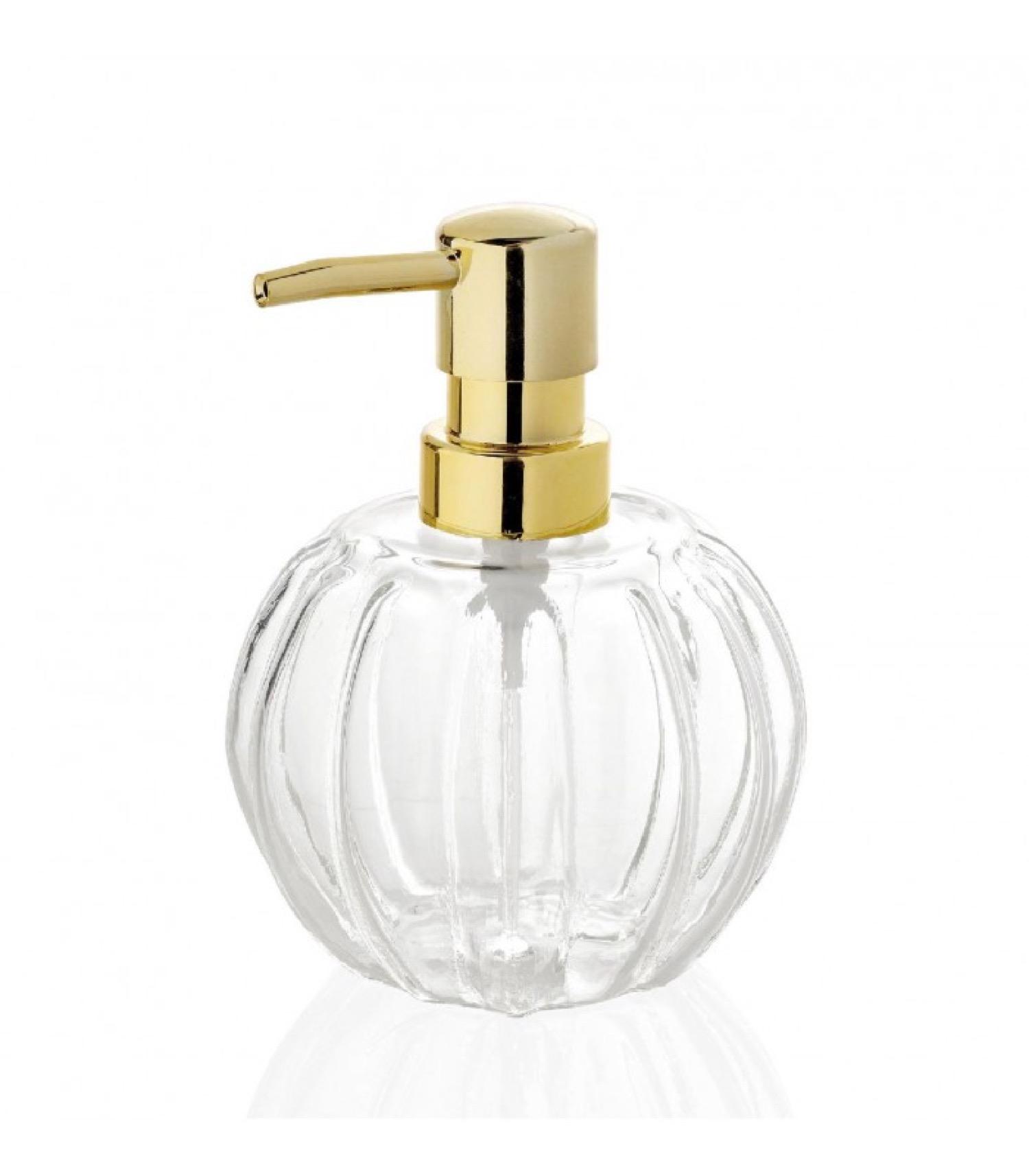 Distributeur de savon en verre et métal doré