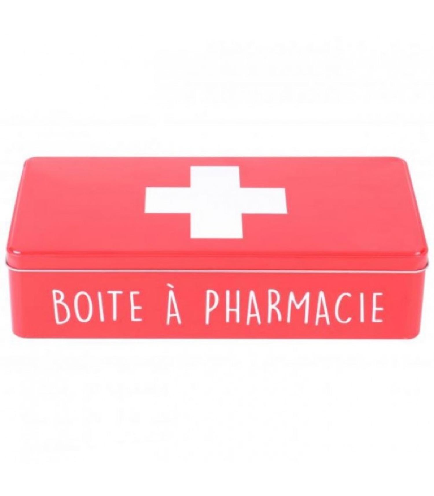 Boîte en métal rouge et croix blanche 32x15,5cm