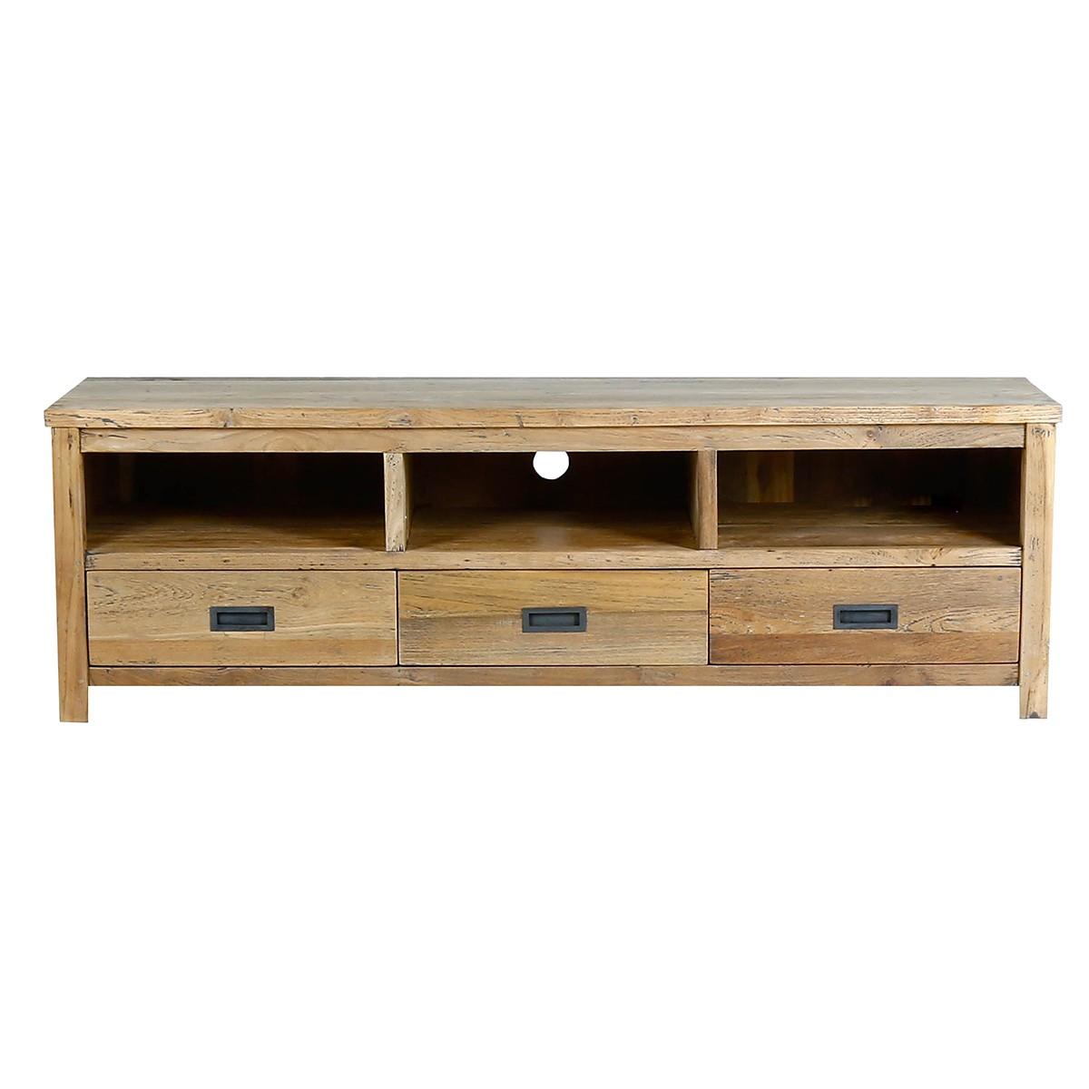 Meuble TV 3 tiroirs et 3 niches en teck recyclé