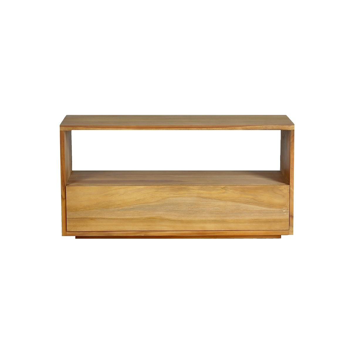 Meuble TV en bois de teck 1 tiroir