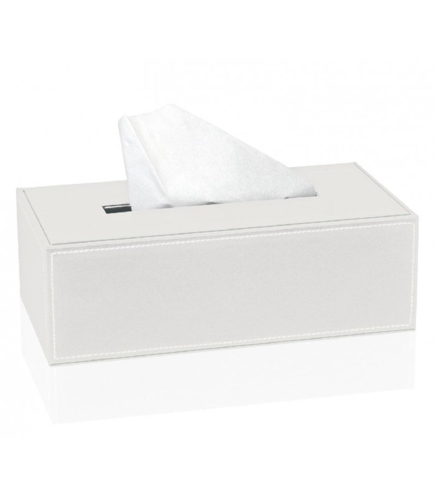 Boîte à mouchoirs similicuir blanc 26x14cm (photo)
