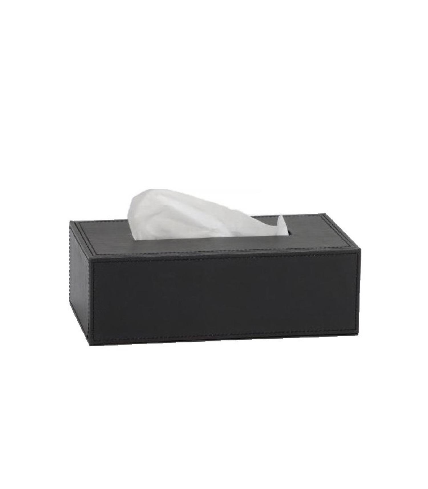 Boîte à mouchoirs similicuir noir 26x14cm (photo)