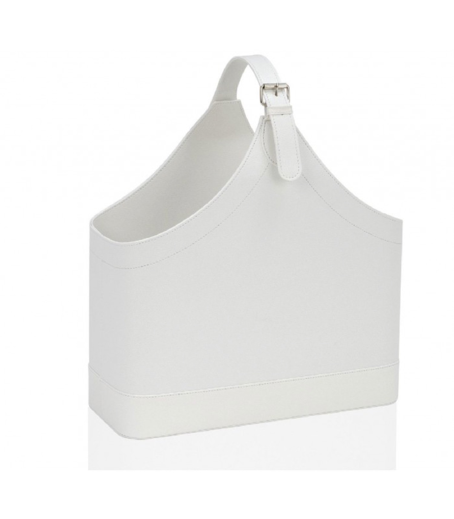 Porte revues en similicuir blanc