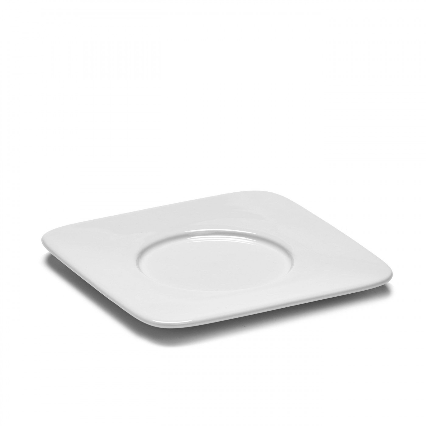 Soucoupe carrée mug en porcelaine blanche 12,7x12,7cm