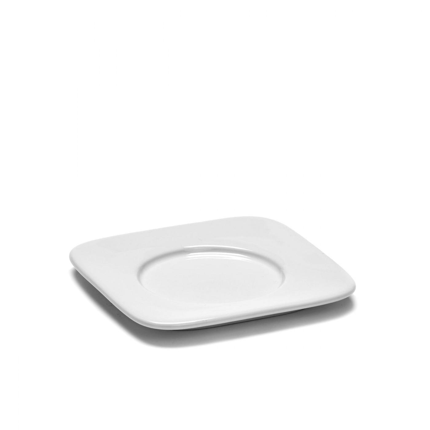 Soucoupe carrée expresso en porcelaine blanche 9,9x9,9cm