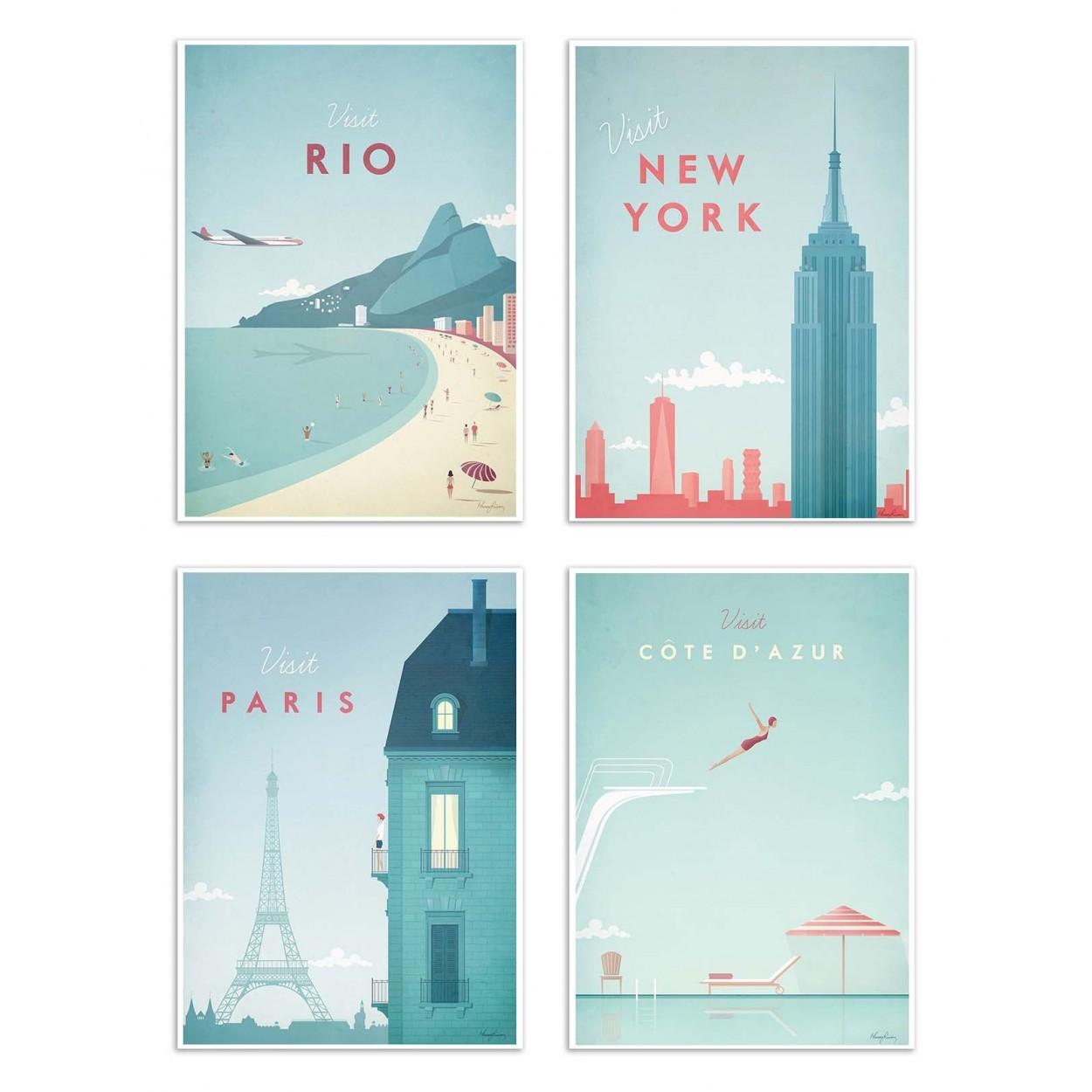 VISIT CITIES -  Affiche d'art 20 x 30 cm