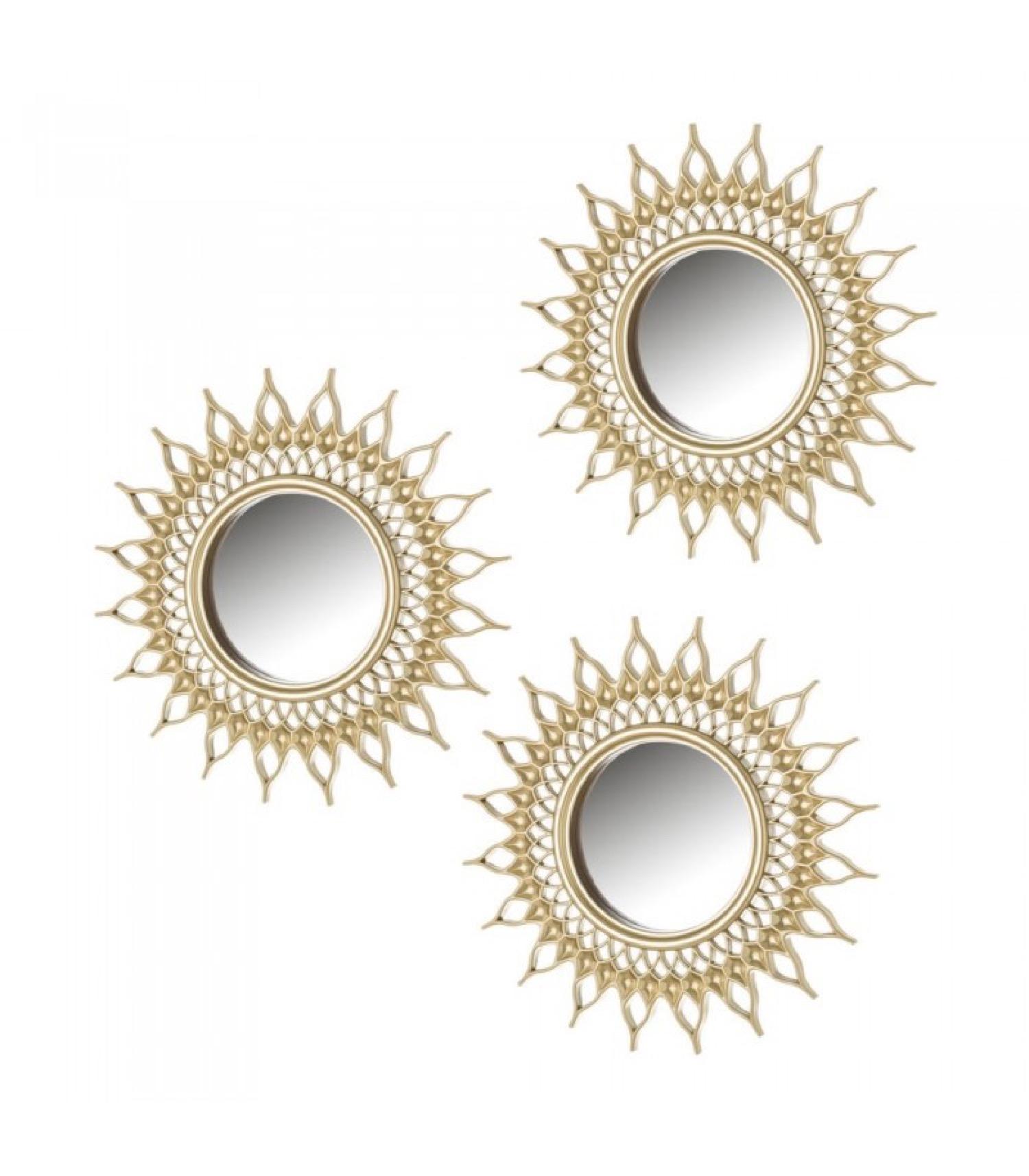Set de 3 miroirs ronds dorés D10