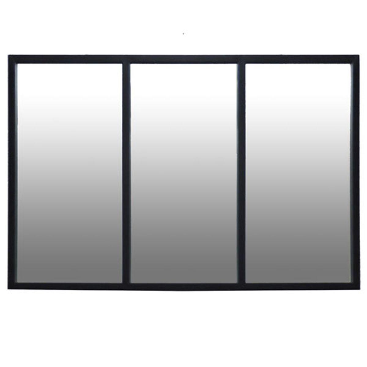 Miroir atelier verrière en métal noir 60x90