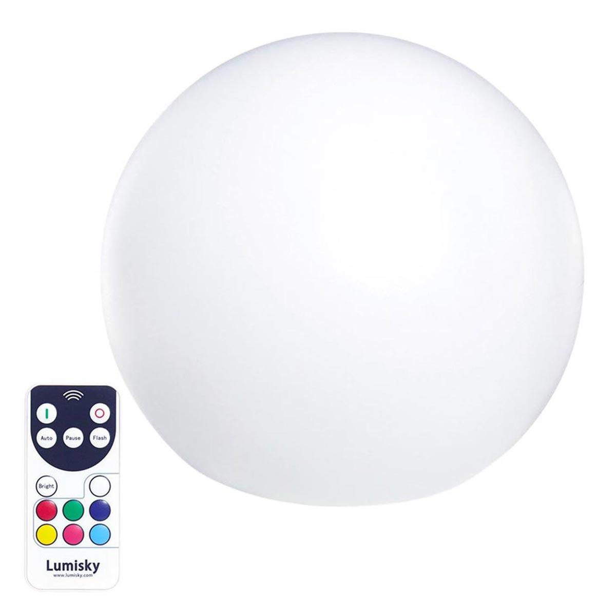 Boule lumineuse sans fil multicolore plastique blanc 20cm