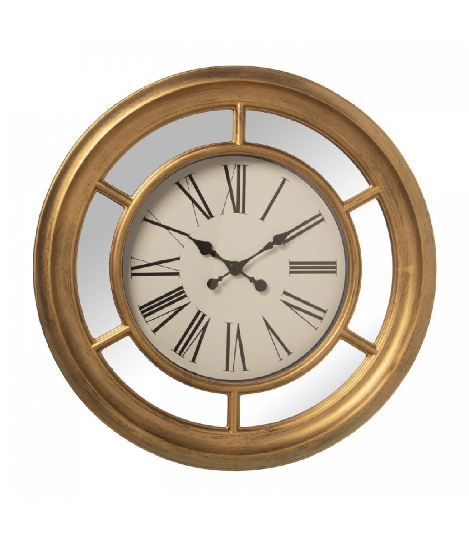 Horloge murale en résine dorée avec miroirs D66