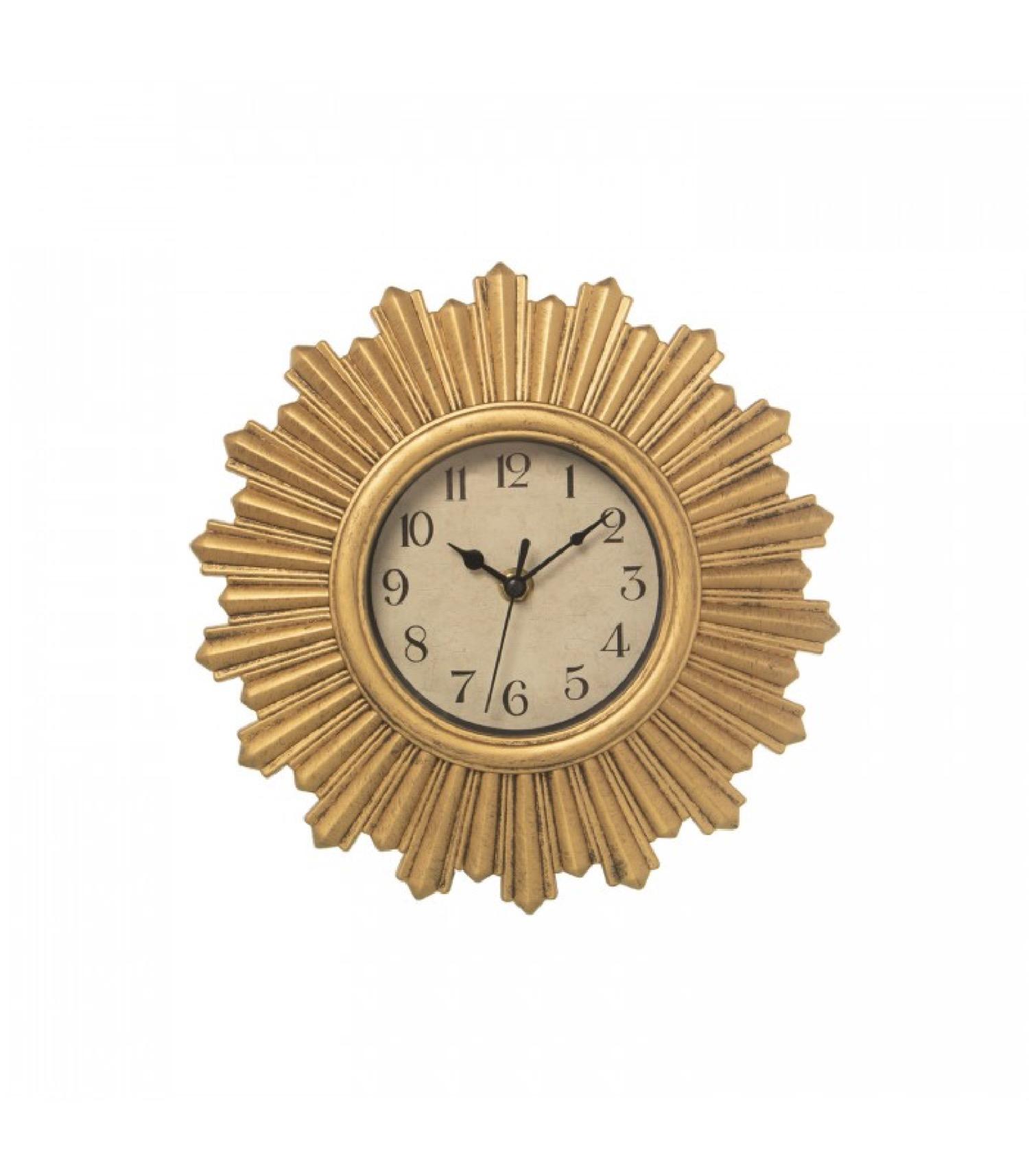 Horloge murale en résine dorée D30