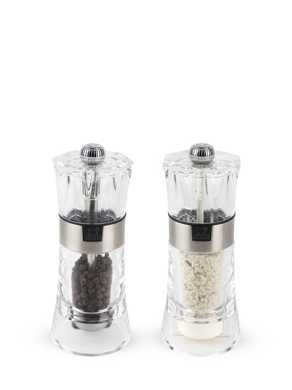 Duo moulin à poivre et à sel humide manuel en acryl H14cm