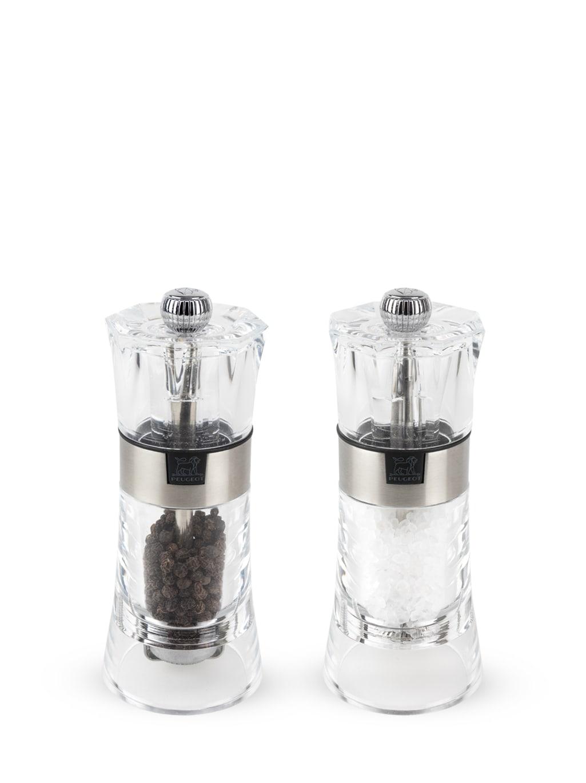 Duo moulin à poivre et salière manuel en acryl H14cm