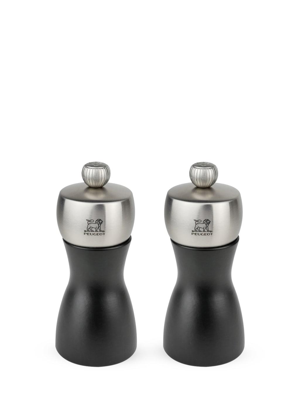 Duo de moulins à poivre et sel en bois noir et inox H12cm